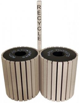 Dual Round Recycled Plastic Trash Receptacle 49 gallon